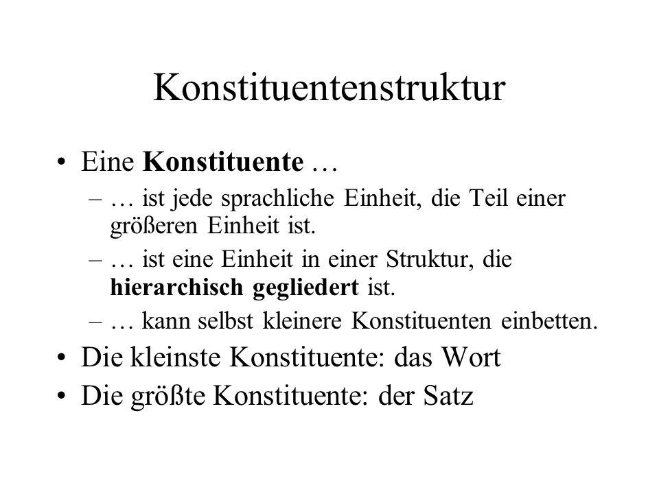 Konstituentenstruktur Eine Konstituente … –… ist jede sprachliche Einheit, die Teil einer größeren Einheit ist.