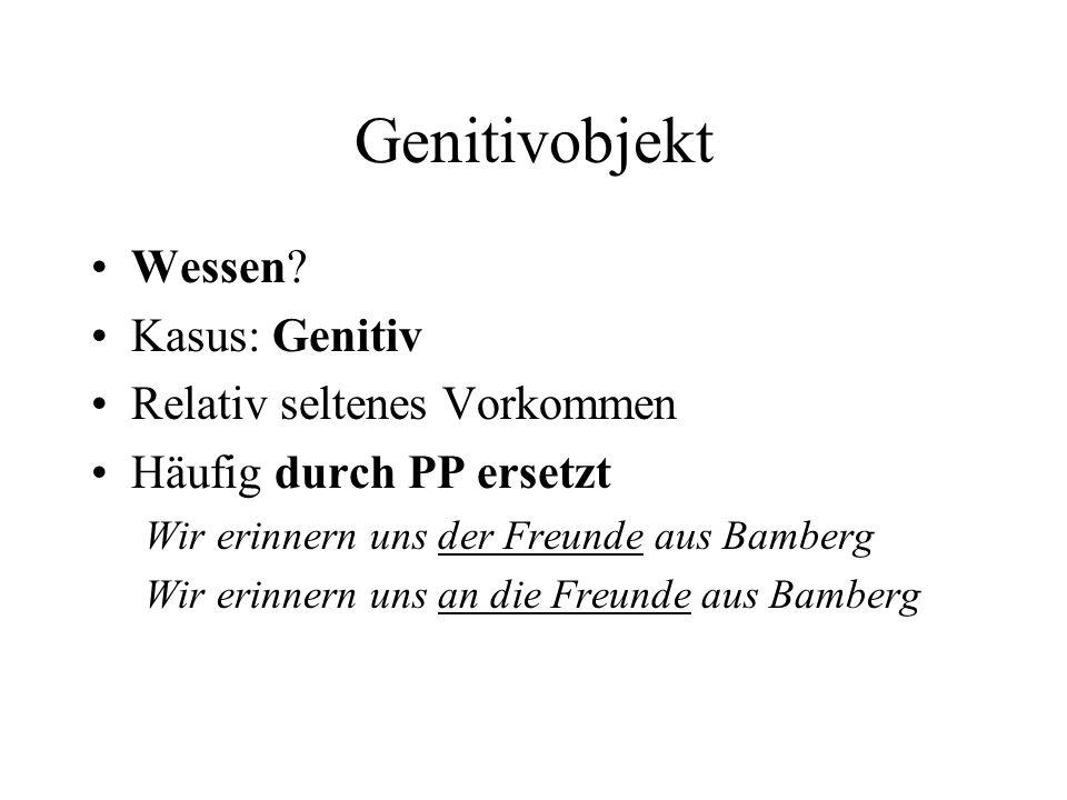 Genitivobjekt Wessen.
