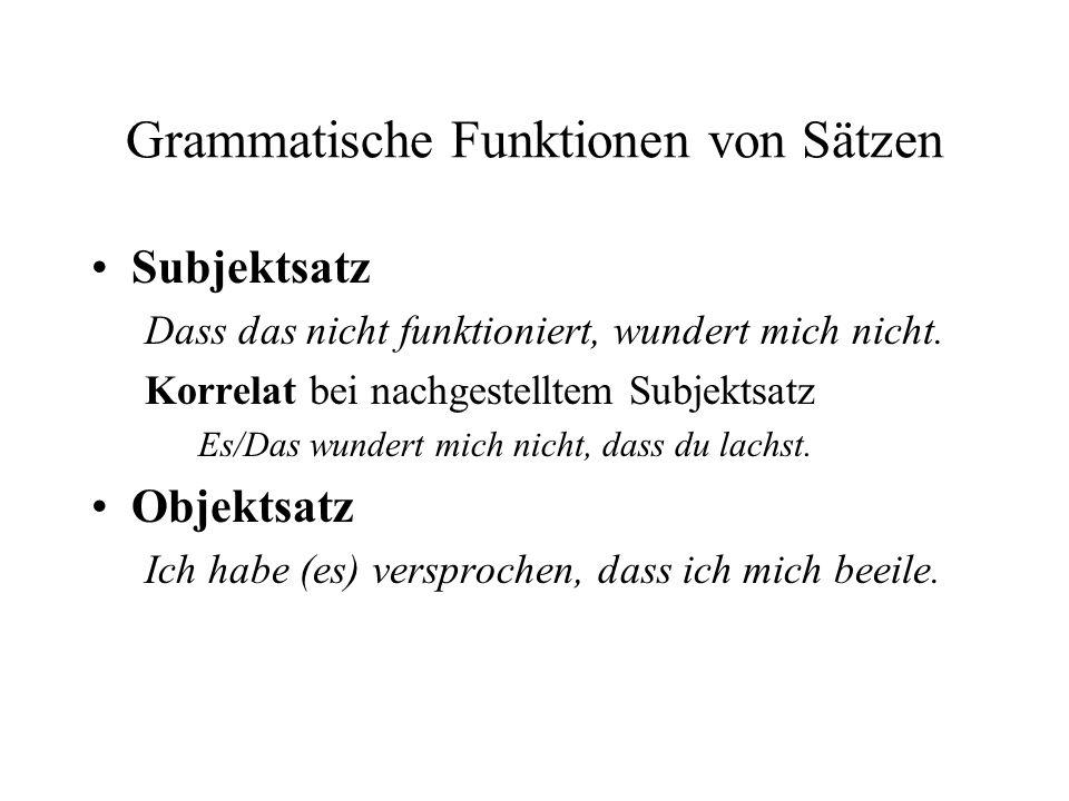 Grammatische Funktionen von Sätzen Subjektsatz Dass das nicht funktioniert, wundert mich nicht.