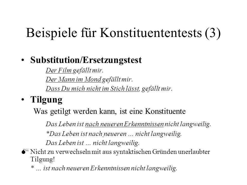 Beispiele für Konstituententests (3) Substitution/Ersetzungstest Der Film gefällt mir.