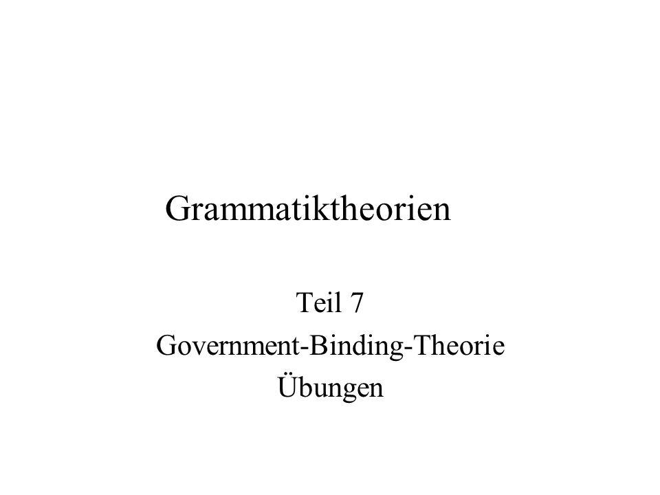 Grammatiktheorien Teil 7 Government-Binding-Theorie Übungen
