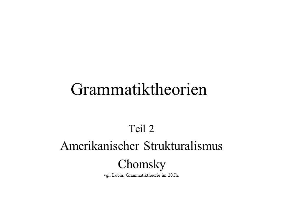 Paradigmenwechsel - Wende zum Kognitivismus (2) Radikaler Verzicht auf Sprachbeschreibung zugunsten der Explanation grammatischer Phänomene Gleich geblieben: Annahme einer Tiefen- und Oberflächenstruktur