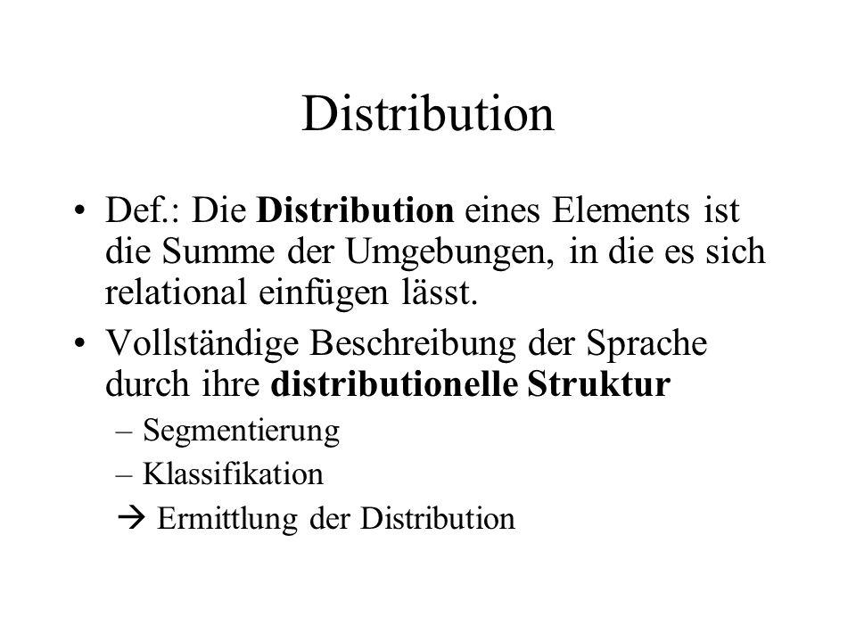 Distribution Def.: Die Distribution eines Elements ist die Summe der Umgebungen, in die es sich relational einfügen lässt. Vollständige Beschreibung d