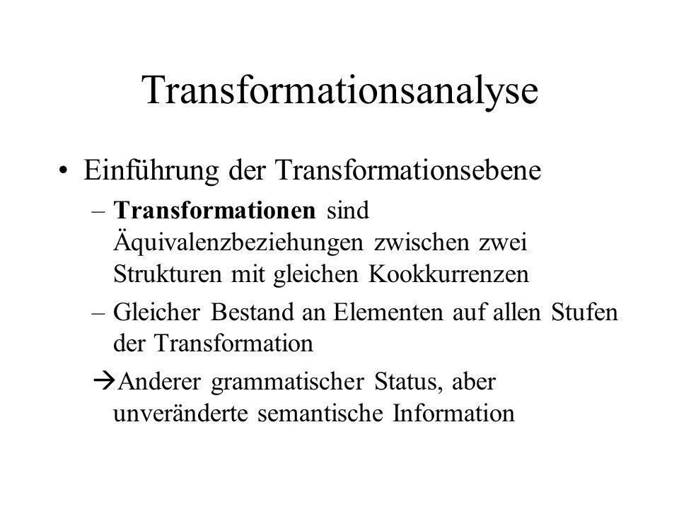 Transformationsanalyse Einführung der Transformationsebene –Transformationen sind Äquivalenzbeziehungen zwischen zwei Strukturen mit gleichen Kookkurr