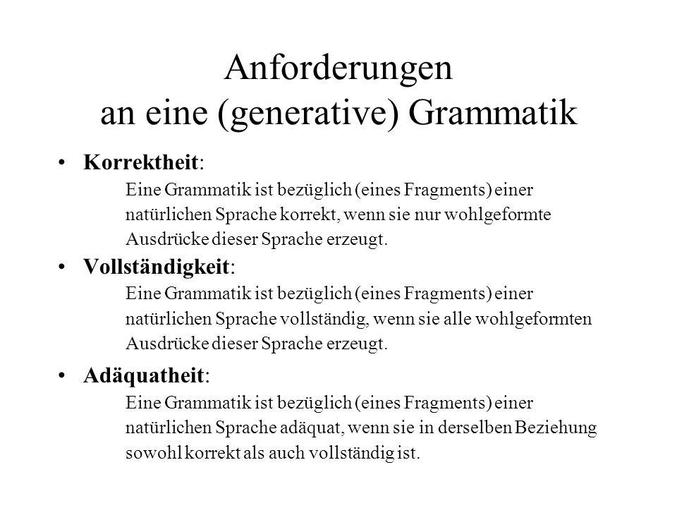 Anforderungen an eine (generative) Grammatik Korrektheit: Eine Grammatik ist bezüglich (eines Fragments) einer natürlichen Sprache korrekt, wenn sie n