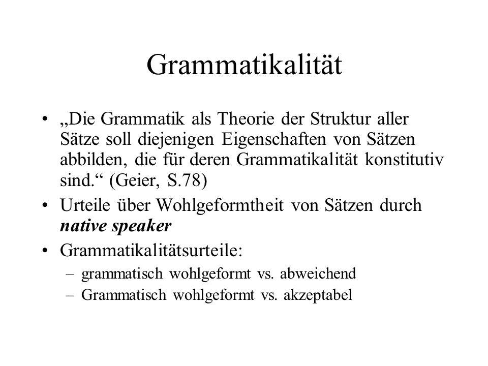 Grammatikalität Die Grammatik als Theorie der Struktur aller Sätze soll diejenigen Eigenschaften von Sätzen abbilden, die für deren Grammatikalität ko