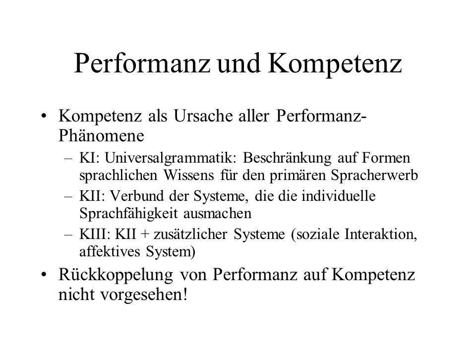 Performanz und Kompetenz Kompetenz als Ursache aller Performanz- Phänomene –KI: Universalgrammatik: Beschränkung auf Formen sprachlichen Wissens für d