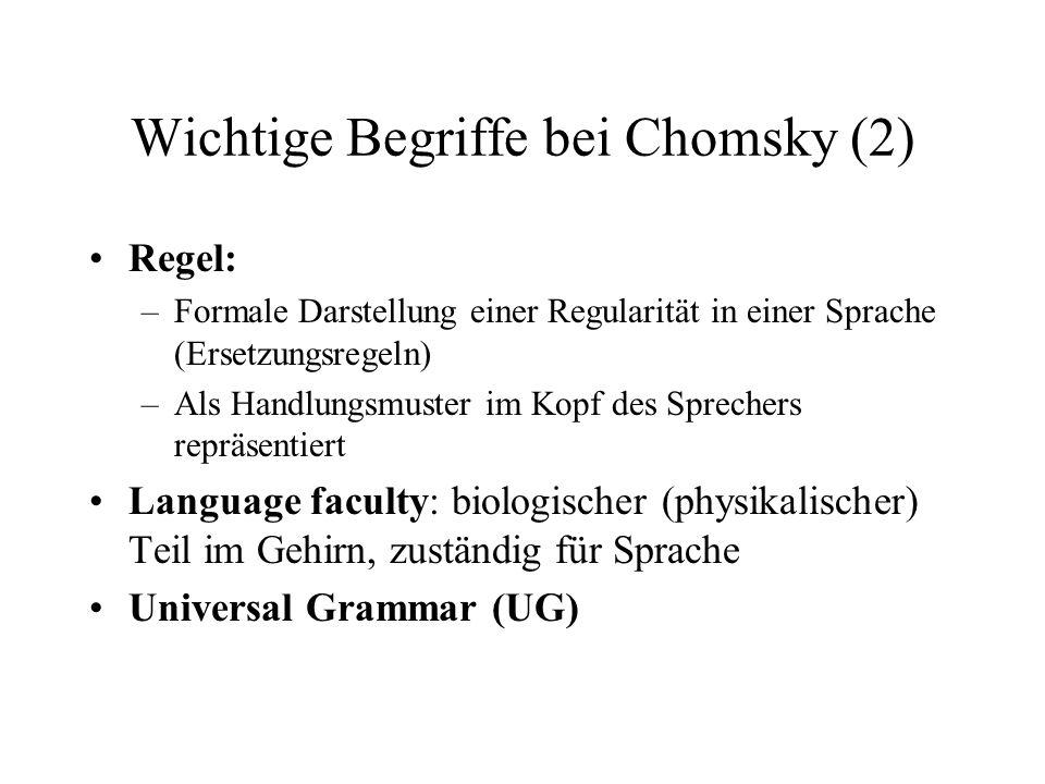 Wichtige Begriffe bei Chomsky (2) Regel: –Formale Darstellung einer Regularität in einer Sprache (Ersetzungsregeln) –Als Handlungsmuster im Kopf des S