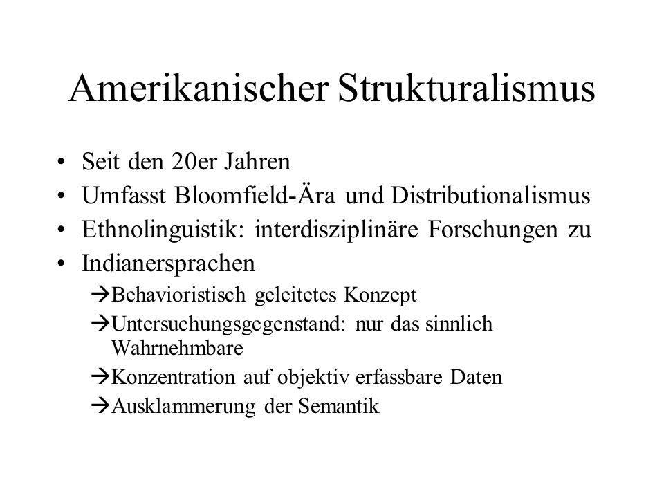 Amerikanischer Strukturalismus Seit den 20er Jahren Umfasst Bloomfield-Ära und Distributionalismus Ethnolinguistik: interdisziplinäre Forschungen zu I