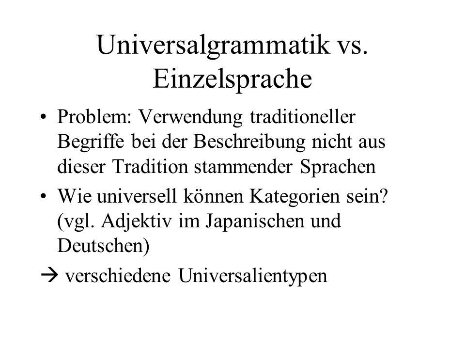Universalgrammatik vs. Einzelsprache Problem: Verwendung traditioneller Begriffe bei der Beschreibung nicht aus dieser Tradition stammender Sprachen W