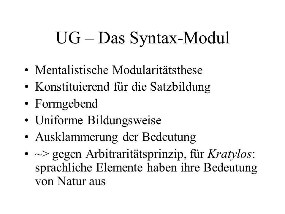 UG – Das Syntax-Modul Mentalistische Modularitätsthese Konstituierend für die Satzbildung Formgebend Uniforme Bildungsweise Ausklammerung der Bedeutun