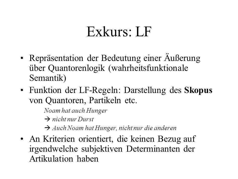 Exkurs: LF Repräsentation der Bedeutung einer Äußerung über Quantorenlogik (wahrheitsfunktionale Semantik) Funktion der LF-Regeln: Darstellung des Sko