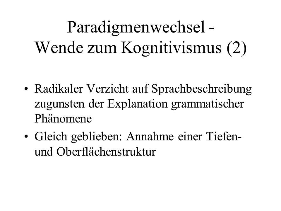 Paradigmenwechsel - Wende zum Kognitivismus (2) Radikaler Verzicht auf Sprachbeschreibung zugunsten der Explanation grammatischer Phänomene Gleich geb