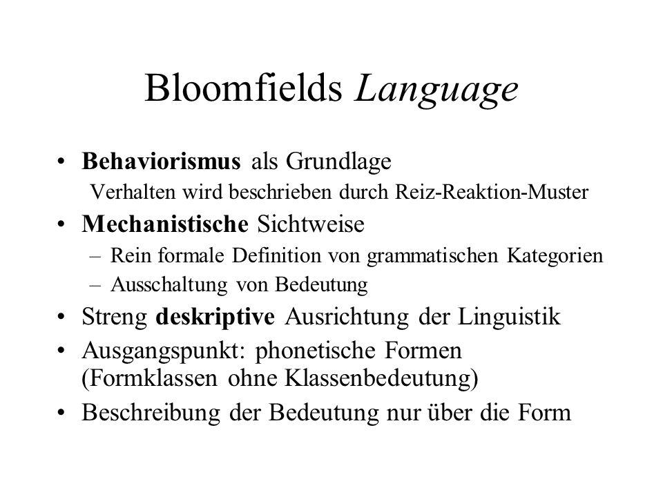 Bloomfields Auswirkungen Moderater Umgang mit Bedeutung: strukturelle Bedeutung (Fries, 1952) Radikaler Umgang mit Bedeutung: Bei Chomsky aus methodischen (nicht philosophischen) Gründen ausgeschaltet Gegenbewegung: General Semantics, Metalinguistik