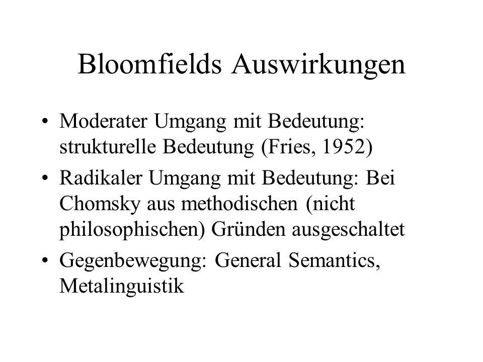 Bloomfields Auswirkungen Moderater Umgang mit Bedeutung: strukturelle Bedeutung (Fries, 1952) Radikaler Umgang mit Bedeutung: Bei Chomsky aus methodis