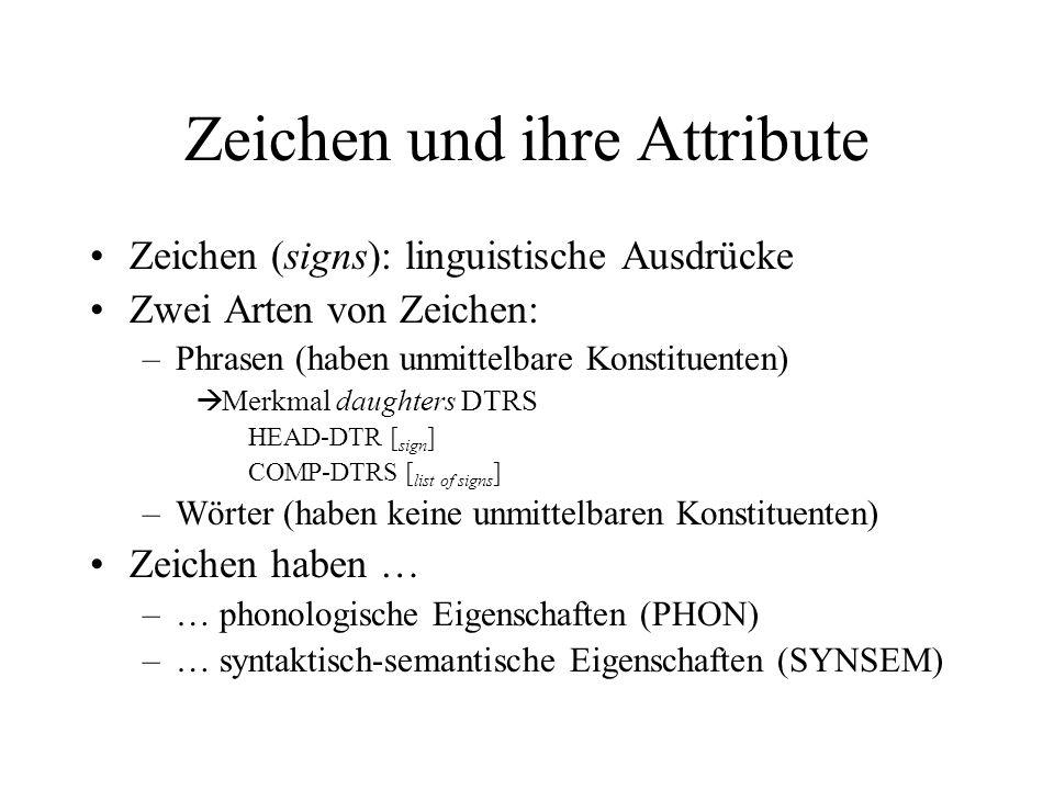 Zeichen und ihre Attribute Zeichen (signs): linguistische Ausdrücke Zwei Arten von Zeichen: –Phrasen (haben unmittelbare Konstituenten) Merkmal daughters DTRS HEAD-DTR [ sign ] COMP-DTRS [ list of signs ] –Wörter (haben keine unmittelbaren Konstituenten) Zeichen haben … –… phonologische Eigenschaften (PHON) –… syntaktisch-semantische Eigenschaften (SYNSEM)