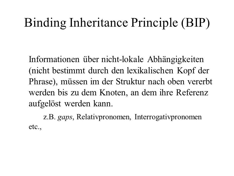 Binding Inheritance Principle (BIP) Informationen über nicht-lokale Abhängigkeiten (nicht bestimmt durch den lexikalischen Kopf der Phrase), müssen im der Struktur nach oben vererbt werden bis zu dem Knoten, an dem ihre Referenz aufgelöst werden kann.