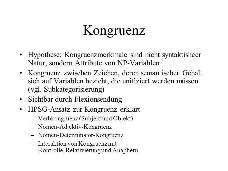Kongruenz Hypothese: Kongruenzmerkmale sind nicht syntaktishcer Natur, sondern Attribute von NP-Variablen Kongruenz zwischen Zeichen, deren semantischer Gehalt sich auf Variablen bezieht, die unifiziert werden müssen.