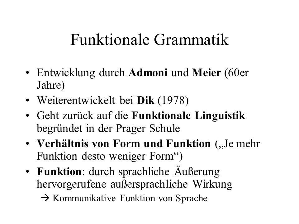 Funktionale Grammatik Entwicklung durch Admoni und Meier (60er Jahre) Weiterentwickelt bei Dik (1978) Geht zurück auf die Funktionale Linguistik begrü