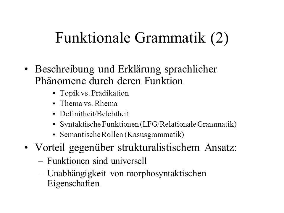Funktionale Grammatik (2) Beschreibung und Erklärung sprachlicher Phänomene durch deren Funktion Topik vs. Prädikation Thema vs. Rhema Definitheit/Bel