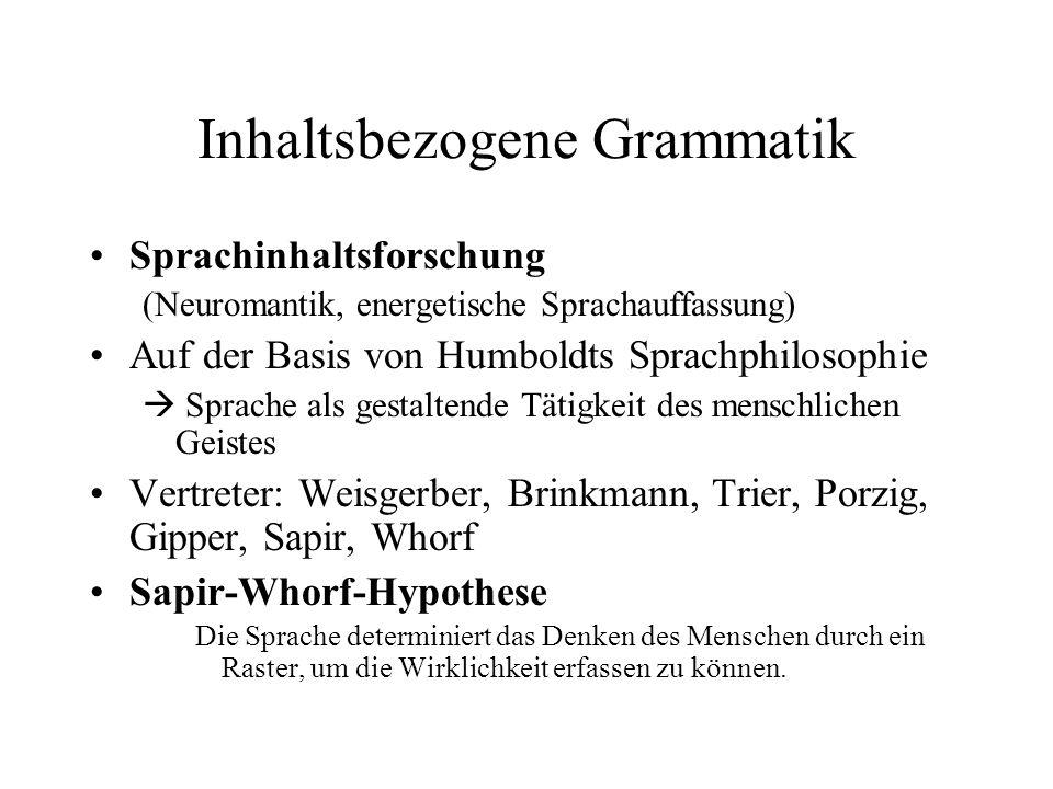 Inhaltsbezogene Grammatik Sprachinhaltsforschung (Neuromantik, energetische Sprachauffassung) Auf der Basis von Humboldts Sprachphilosophie Sprache al