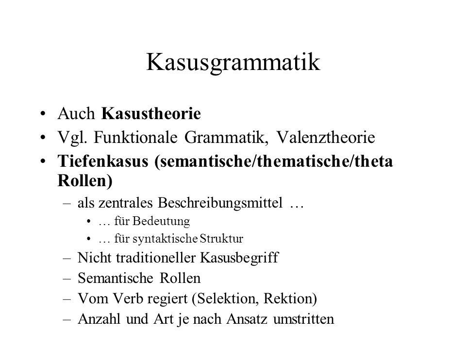 Kasusgrammatik Auch Kasustheorie Vgl. Funktionale Grammatik, Valenztheorie Tiefenkasus (semantische/thematische/theta Rollen) –als zentrales Beschreib