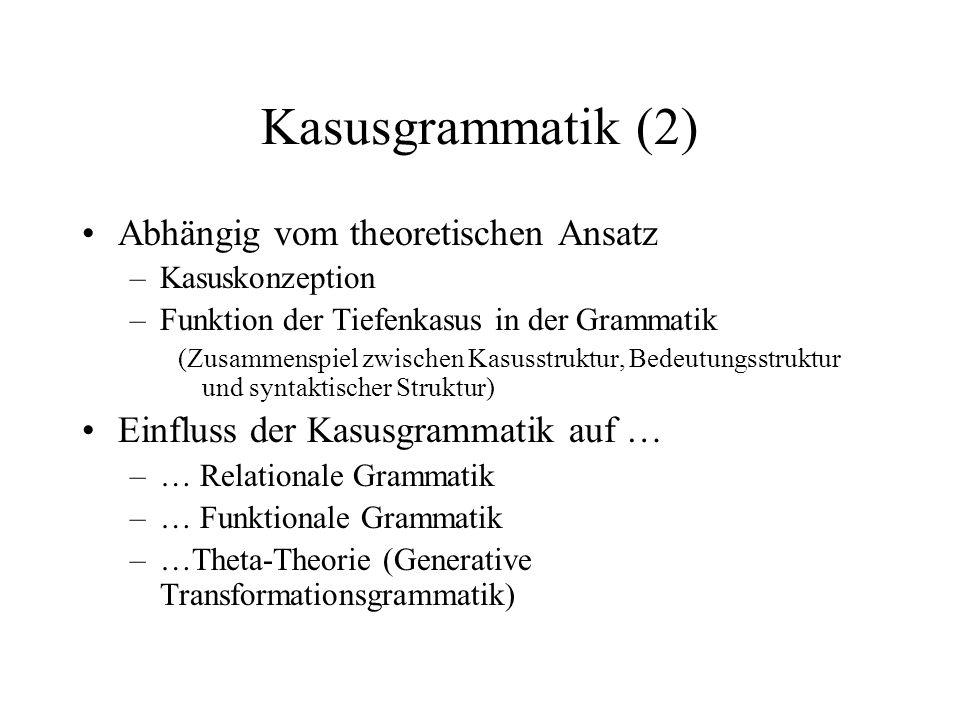 Kasusgrammatik (2) Abhängig vom theoretischen Ansatz –Kasuskonzeption –Funktion der Tiefenkasus in der Grammatik (Zusammenspiel zwischen Kasusstruktur