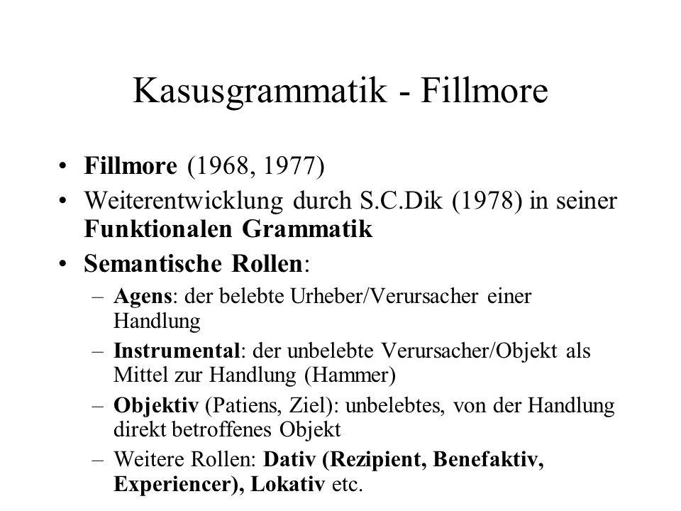 Kasusgrammatik - Fillmore Fillmore (1968, 1977) Weiterentwicklung durch S.C.Dik (1978) in seiner Funktionalen Grammatik Semantische Rollen: –Agens: de