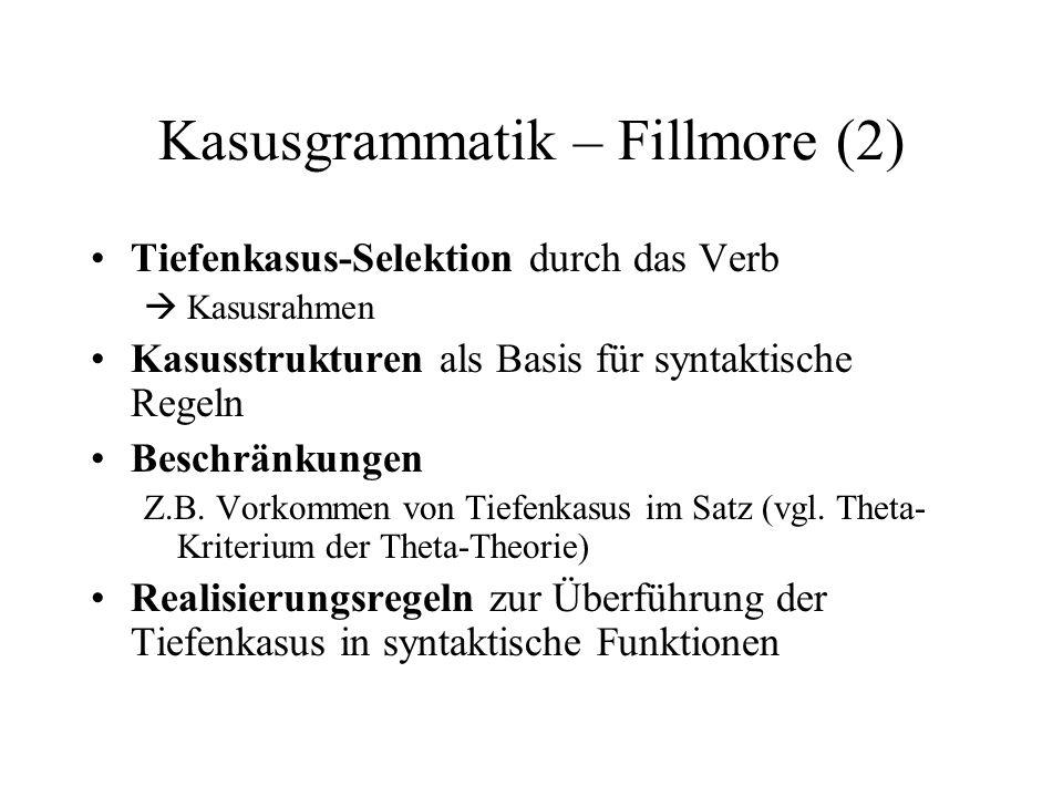 Kasusgrammatik – Fillmore (2) Tiefenkasus-Selektion durch das Verb Kasusrahmen Kasusstrukturen als Basis für syntaktische Regeln Beschränkungen Z.B. V