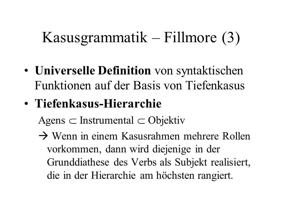 Kasusgrammatik – Fillmore (3) Universelle Definition von syntaktischen Funktionen auf der Basis von Tiefenkasus Tiefenkasus-Hierarchie Agens Instrumen