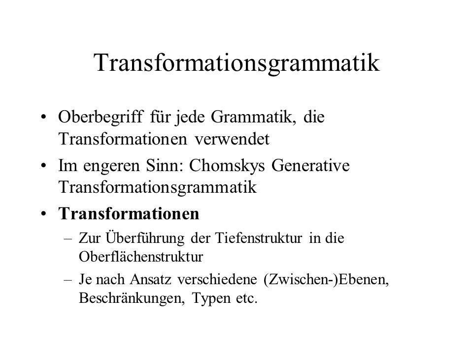 Transformationsgrammatik Oberbegriff für jede Grammatik, die Transformationen verwendet Im engeren Sinn: Chomskys Generative Transformationsgrammatik