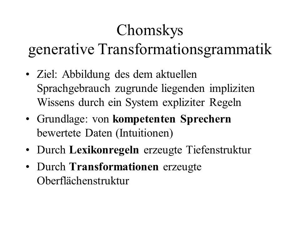 Chomskys generative Transformationsgrammatik Ziel: Abbildung des dem aktuellen Sprachgebrauch zugrunde liegenden impliziten Wissens durch ein System e