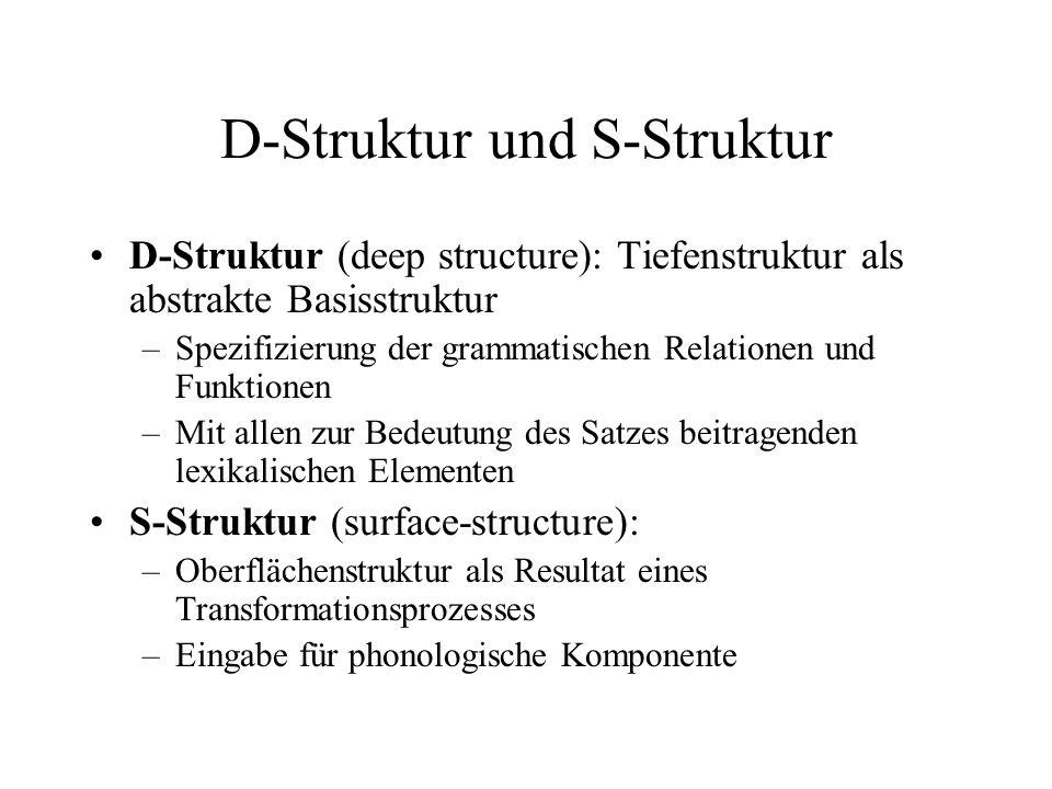 D-Struktur und S-Struktur D-Struktur (deep structure): Tiefenstruktur als abstrakte Basisstruktur –Spezifizierung der grammatischen Relationen und Fun
