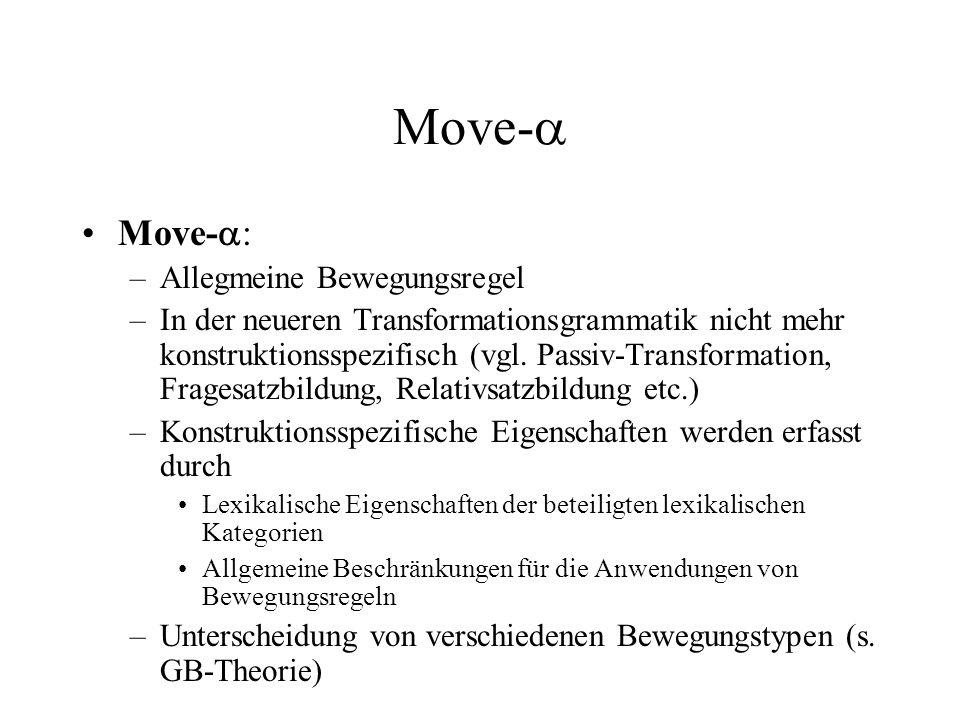 Move- Move- : –Allegmeine Bewegungsregel –In der neueren Transformationsgrammatik nicht mehr konstruktionsspezifisch (vgl. Passiv-Transformation, Frag