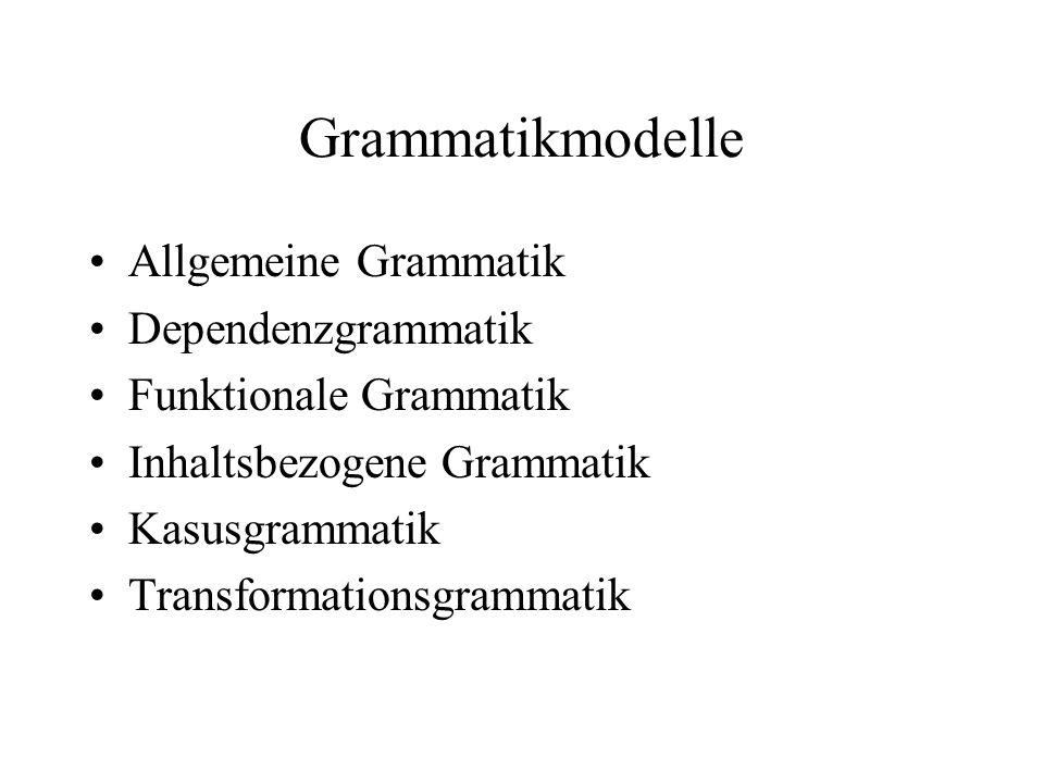 Transformationsgrammatik Oberbegriff für jede Grammatik, die Transformationen verwendet Im engeren Sinn: Chomskys Generative Transformationsgrammatik Transformationen –Zur Überführung der Tiefenstruktur in die Oberflächenstruktur –Je nach Ansatz verschiedene (Zwischen-)Ebenen, Beschränkungen, Typen etc.