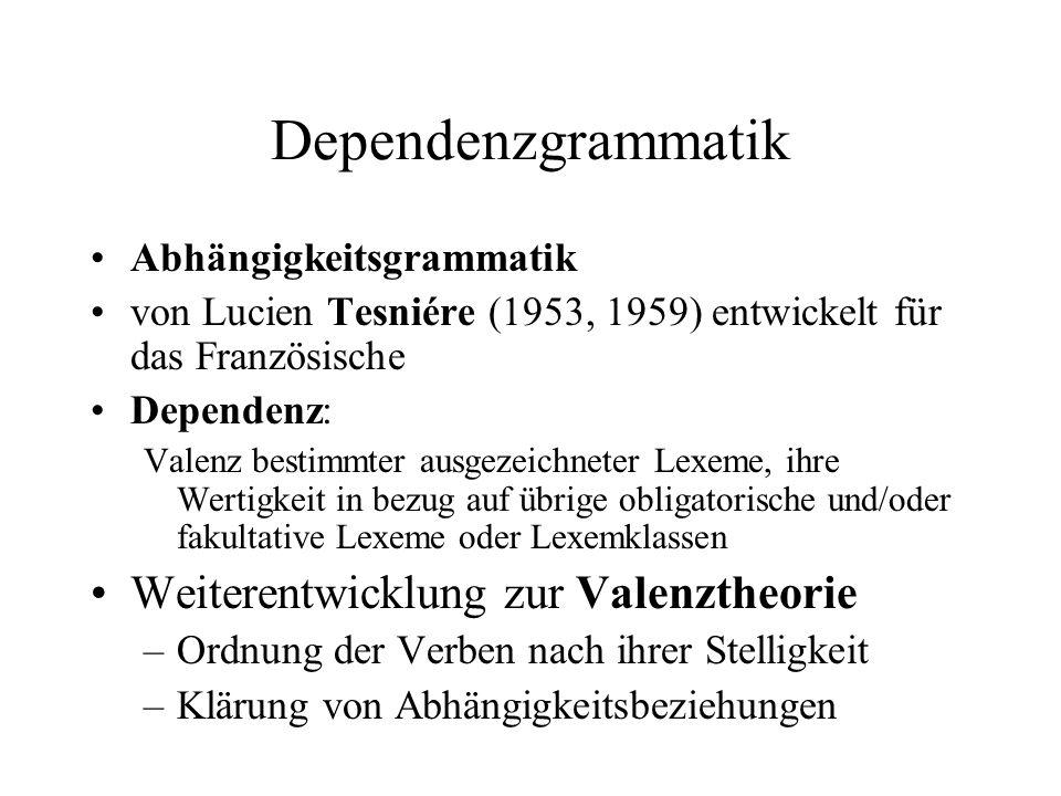 Dependenzgrammatik (2) Erfassung der inneren Struktur eines Satzes durch Beschreibung der Dependenzstruktur Satz = Gefüge von Abhängigkeitsrelationen zwischen seinen Elementen Hierarchische Darstellung: Baumgraphen