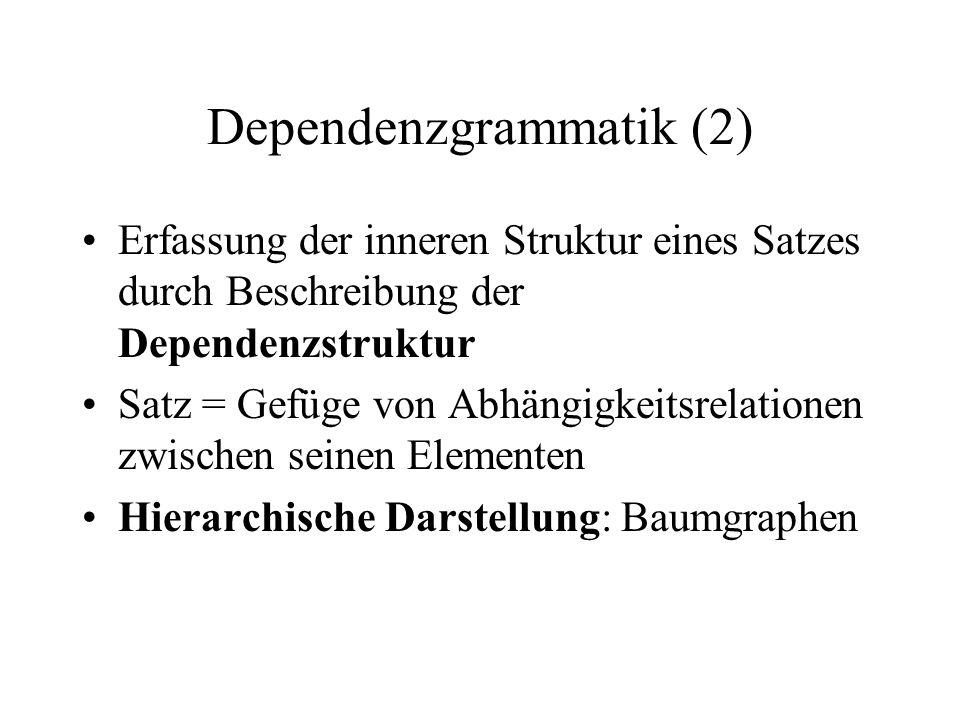 Dependenzgrammatik (2) Erfassung der inneren Struktur eines Satzes durch Beschreibung der Dependenzstruktur Satz = Gefüge von Abhängigkeitsrelationen