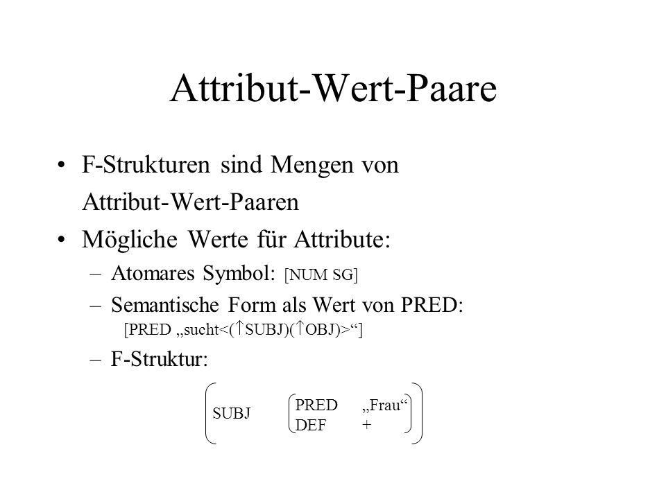 Attribut-Wert-Paare F-Strukturen sind Mengen von Attribut-Wert-Paaren Mögliche Werte für Attribute: –Atomares Symbol: [NUM SG] –Semantische Form als W
