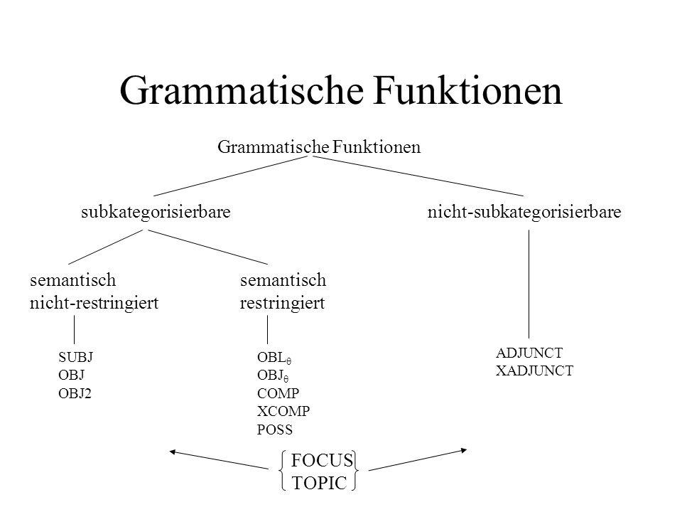 Grammatische Funktionen subkategorisierbarenicht-subkategorisierbare semantisch nicht-restringiert semantisch restringiert SUBJ OBJ OBJ2 OBL OBJ COMP