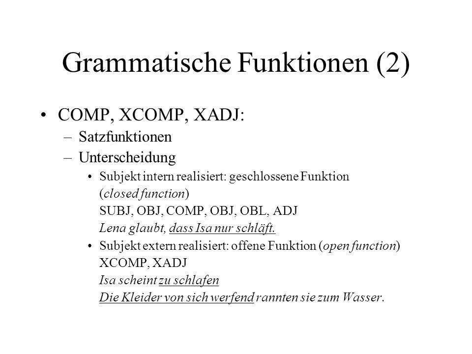 Grammatische Funktionen (2) COMP, XCOMP, XADJ: –Satzfunktionen –Unterscheidung Subjekt intern realisiert: geschlossene Funktion (closed function) SUBJ