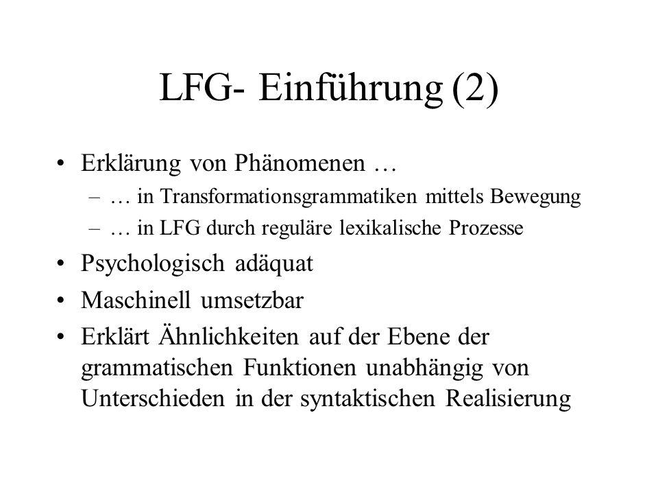 LFG- Einführung (2) Erklärung von Phänomenen … –… in Transformationsgrammatiken mittels Bewegung –… in LFG durch reguläre lexikalische Prozesse Psycho