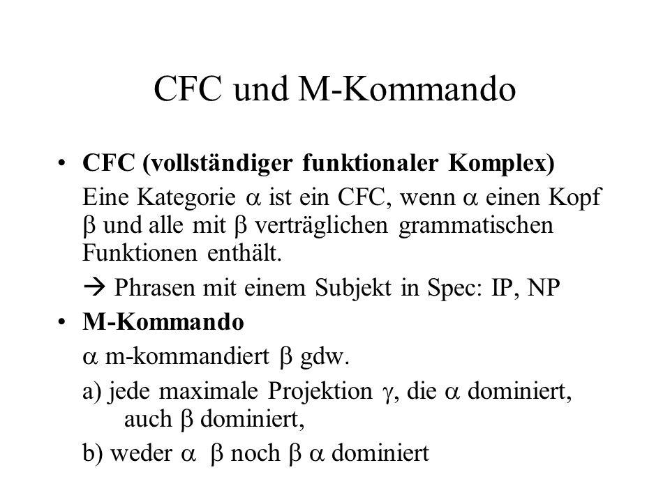 CFC und M-Kommando CFC (vollständiger funktionaler Komplex) Eine Kategorie ist ein CFC, wenn einen Kopf und alle mit verträglichen grammatischen Funktionen enthält.