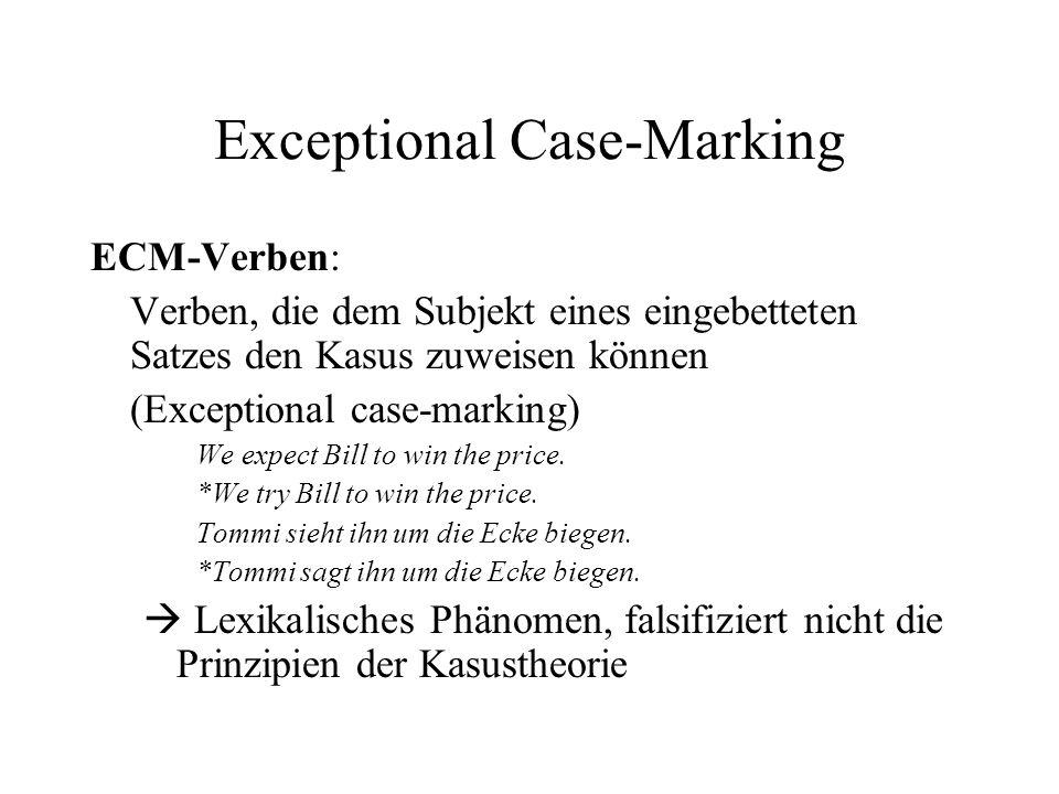 Exceptional Case-Marking ECM-Verben: Verben, die dem Subjekt eines eingebetteten Satzes den Kasus zuweisen können (Exceptional case-marking) We expect Bill to win the price.