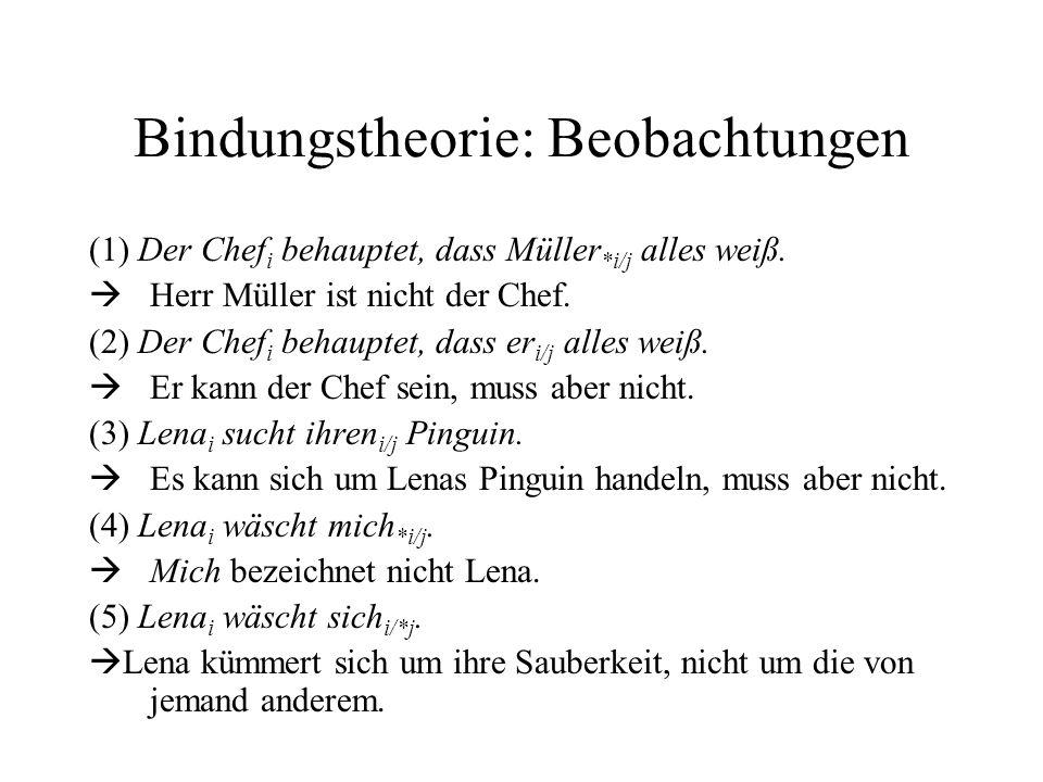 Bindungstheorie: Beobachtungen (1) Der Chef i behauptet, dass Müller *i/j alles weiß.