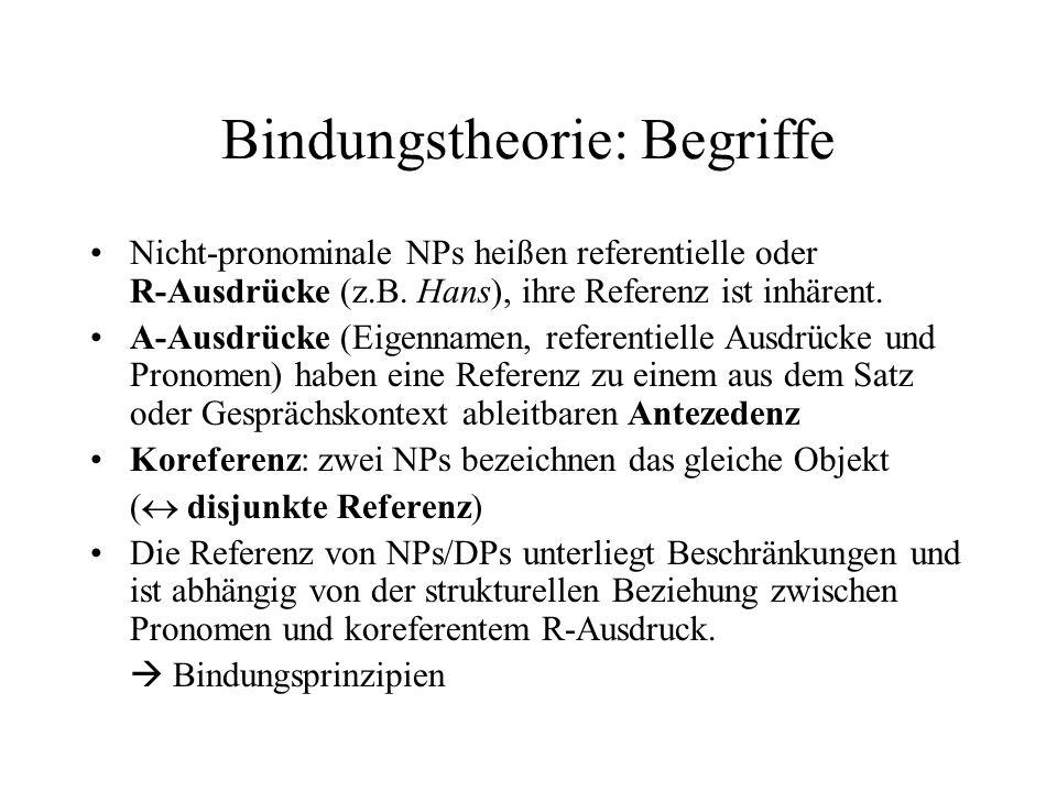 Bindungstheorie: Begriffe Nicht-pronominale NPs heißen referentielle oder R-Ausdrücke (z.B.
