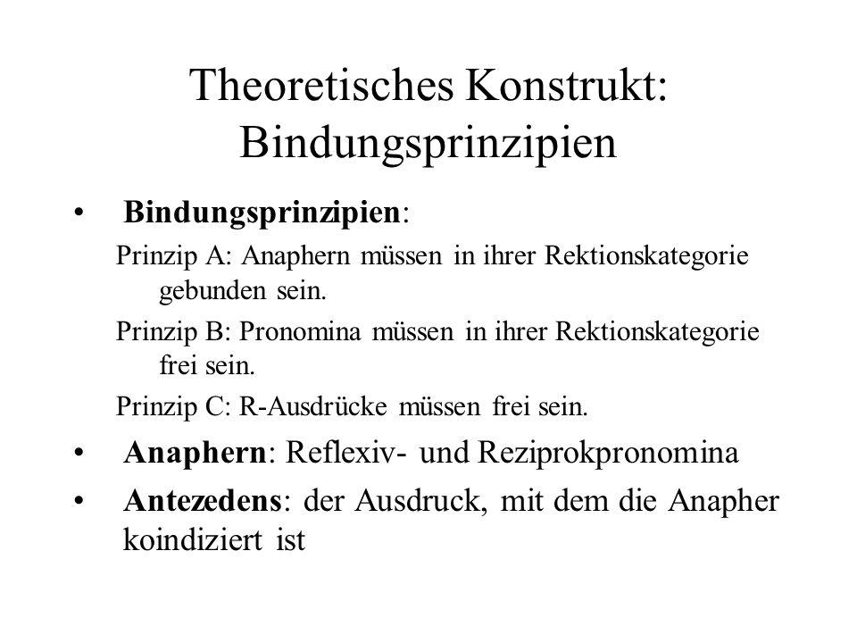 Theoretisches Konstrukt: Bindungsprinzipien Bindungsprinzipien: Prinzip A: Anaphern müssen in ihrer Rektionskategorie gebunden sein.
