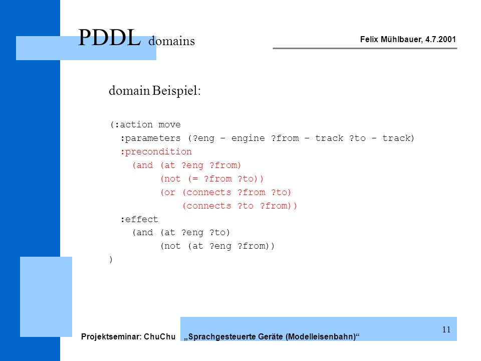 Felix Mühlbauer, 4.7.2001 Projektseminar: ChuChu Sprachgesteuerte Geräte (Modelleisenbahn) 11 PDDL domains domain Beispiel: (:action move :parameters (?eng - engine ?from - track ?to - track) :precondition (and (at ?eng ?from) (not (= ?from ?to)) (or (connects ?from ?to) (connects ?to ?from)) :effect (and (at ?eng ?to) (not (at ?eng ?from)) )