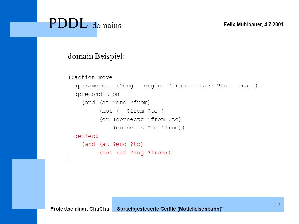 Felix Mühlbauer, 4.7.2001 Projektseminar: ChuChu Sprachgesteuerte Geräte (Modelleisenbahn) 12 PDDL domains domain Beispiel: (:action move :parameters (?eng - engine ?from - track ?to - track) :precondition (and (at ?eng ?from) (not (= ?from ?to)) (or (connects ?from ?to) (connects ?to ?from)) :effect (and (at ?eng ?to) (not (at ?eng ?from)) )