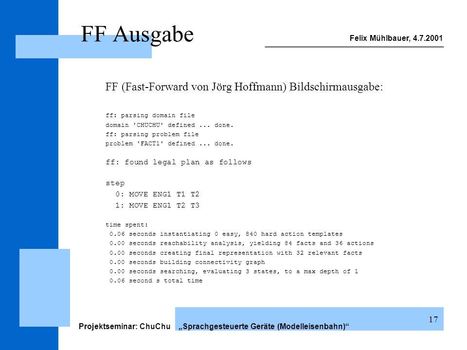 Felix Mühlbauer, 4.7.2001 Projektseminar: ChuChu Sprachgesteuerte Geräte (Modelleisenbahn) 17 FF Ausgabe FF (Fast-Forward von Jörg Hoffmann) Bildschir