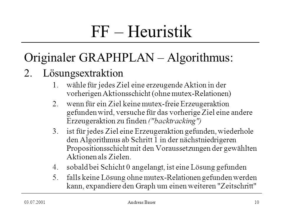 03.07.2001Andreas Bauer10 FF – Heuristik Originaler GRAPHPLAN – Algorithmus: 2.Lösungsextraktion 1.wähle für jedes Ziel eine erzeugende Aktion in der vorherigen Aktionsschicht (ohne mutex-Relationen) 2.wenn für ein Ziel keine mutex-freie Erzeugeraktion gefunden wird, versuche für das vorherige Ziel eine andere Erzeugeraktion zu finden ( backtracking ) 3.ist für jedes Ziel eine Erzeugeraktion gefunden, wiederhole den Algorithmus ab Schritt 1 in der nächstniedrigeren Propositionsschicht mit den Voraussetzungen der gewählten Aktionen als Zielen.